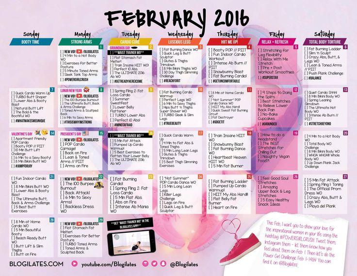 blogilates // february 2016 workout calendar