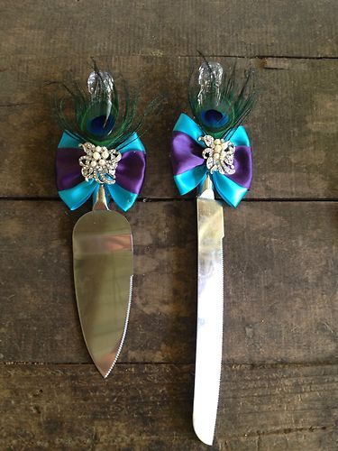 Peacock Wedding Cake Knife Set | eBay