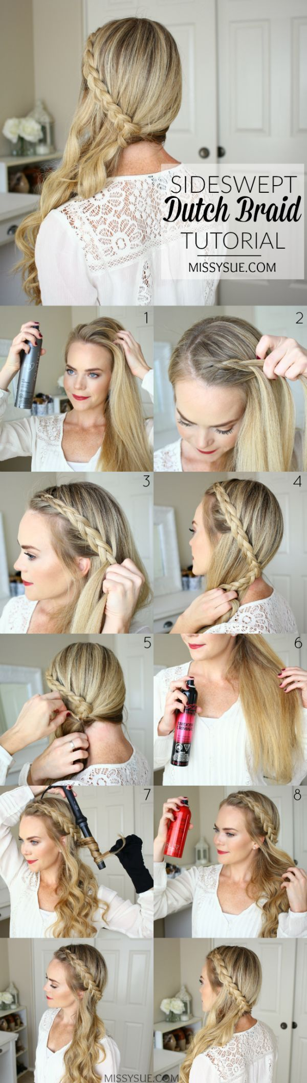 Tendance Coiffure Sideswept Dutch Braid Tutorial