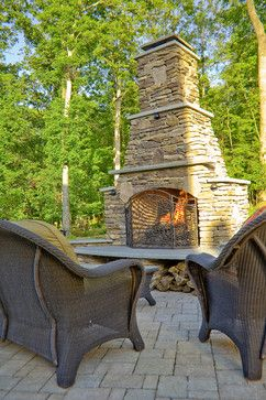 Stacked Stone Outdoor Fireplace Outdoor Fireplaces Pinterest
