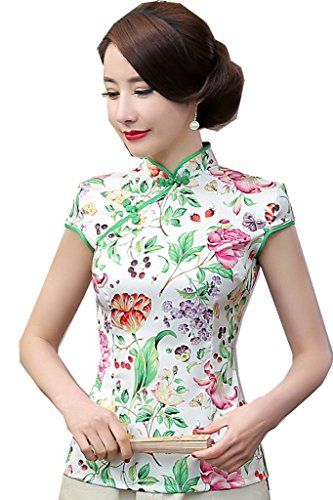 """Shanghai Story Women's Faux Silk Tang Suit Chinese Shirt Blouse Top:   Tips:</br> Please check the size chart before buying. </br> Size Chart(Inch)