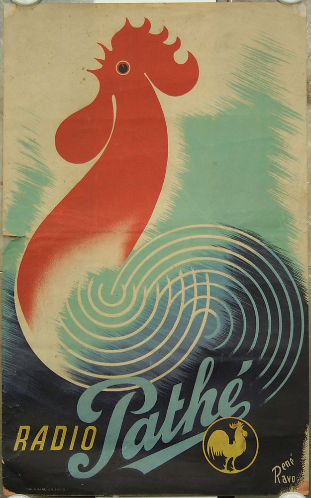 Affiche originale, Radio Pathé, par René Ravo. Coq, poste radio, TSF. in Collections, Calendriers, tickets, affiches, Affiches pub: anciennes | eBay