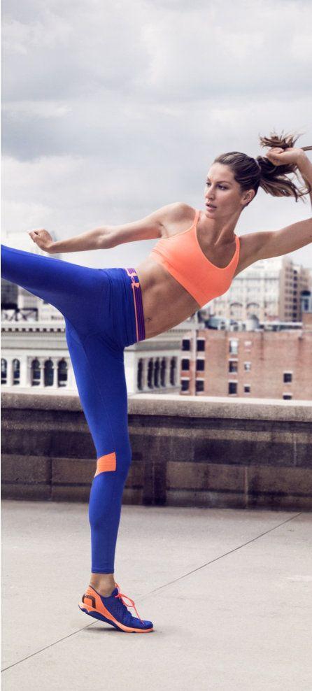 Awesome look!!!! Shop Gisele Bündchen's Kickboxing Gear - Shop Gisele's kickboxing gear, featuring the UA Eclipse bra, HeatGear Alpha shorts, Fly-By leggings, & SpeedForm Apollo shoes.