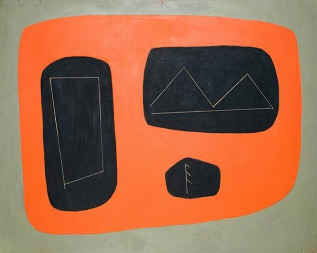"Agnes Martin, ""untitled,"" 1952 print. One of her Taos early works."