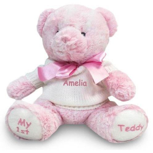 42 best personalized gifts for babies and kids images on pinterest personalized baby gift my 1st teddy bear pink 12 inch dibsies personalization negle Images