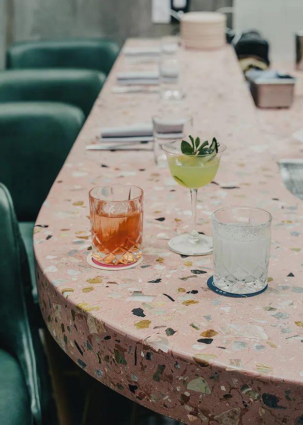 Style File: Terrazzo Details | Erika Carlock | Bohemian Lifestyle Blog Architecture Restaurant, Restaurant Design, Restaurant Bar, Bohemian Restaurant, Modern Restaurant, Terrazzo, Ice Cream Museum, Deco Rose, Bar Design