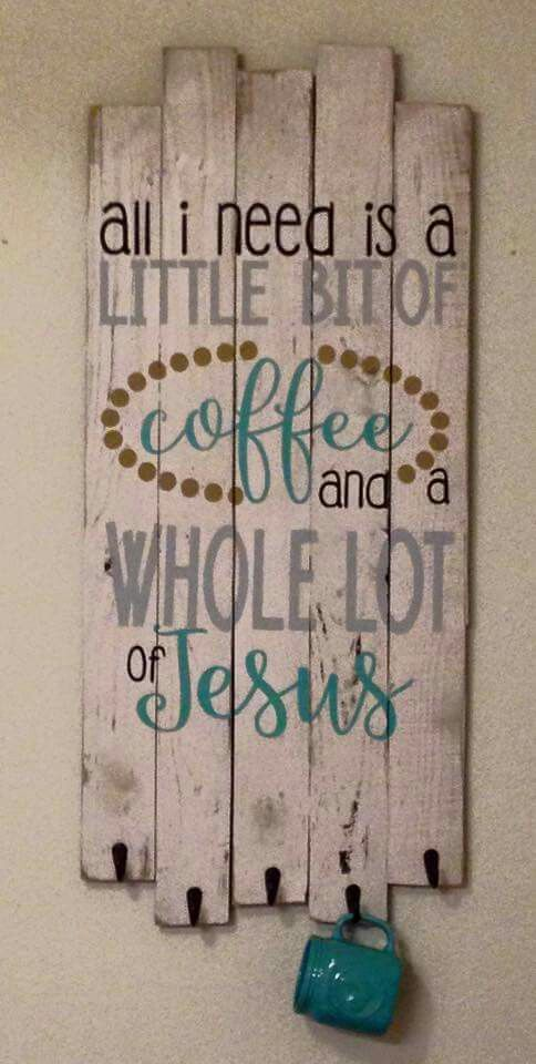 Pallet sign and coffee cup holder