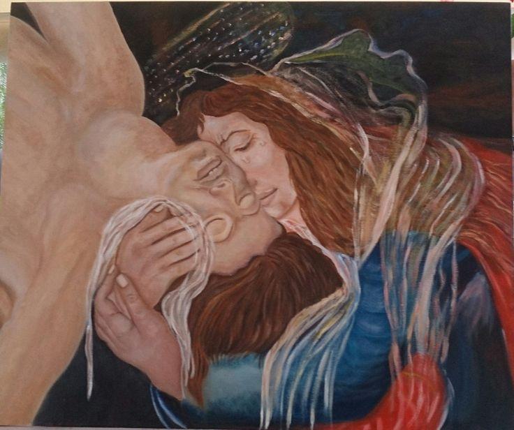 The Lamentation oil on canvas By Litsa Raftopoulou