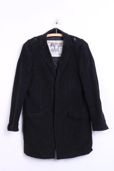 River Island Mens M Blazer Top Suit Black Cotton Single Breasted Nice In Touch