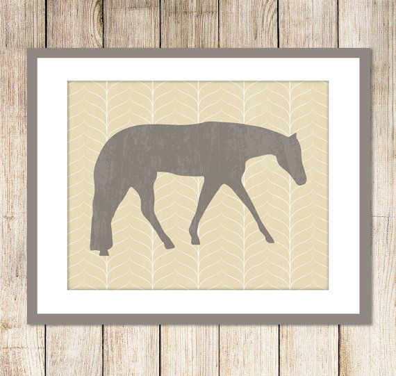 Western Pleasure Horse Silhouette Art Print / Choose your Colors and background pattern / 8x10.