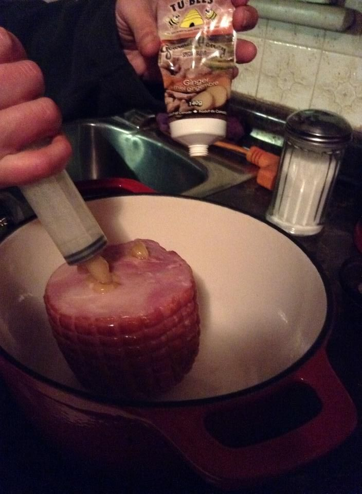 Infusing a little ham with some Ginger Tu-bees it turned out so juicy!