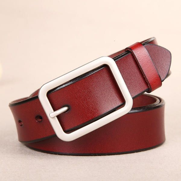 110CM Women Second Layer Leather Belt Pin Buckle Trousers Strap Casual Waistband for Jeans Cowboy at Banggood