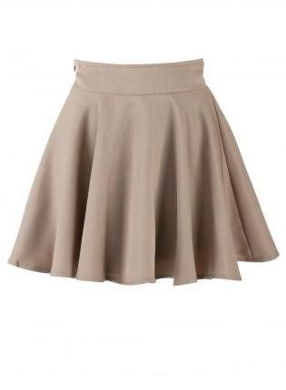 Khaki Skater High Waist Skirt for boarding school uniform