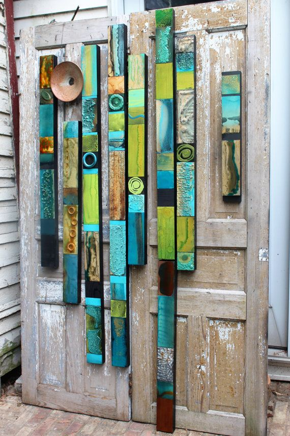Mid Century Modern Turquoise Rain Forest glazed wood Tin Tile Collage Soul Totems Buy any No. or Set. Boho Hippie Folk Primitive Garden