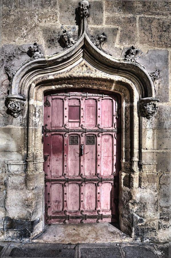 National Museum of the Middle Ages - Paris, France, pink door, entrance, doorway, portal, details, ornaments, architechture, photo