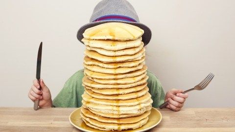 """Denny's is promoting its new fluffy, buttermilk pancakes with its  """"Kids Eat…"""