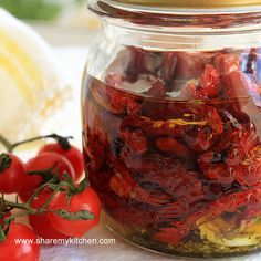 Sun Dried Tomatoes...packed in olive oil w/ garlic, oregano, thyme, etc...delish and pretty :)