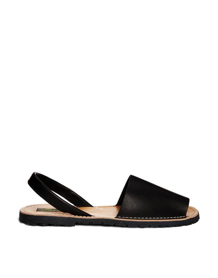 Park+Lane+Black+Leather+Sling+Flat+Sandals