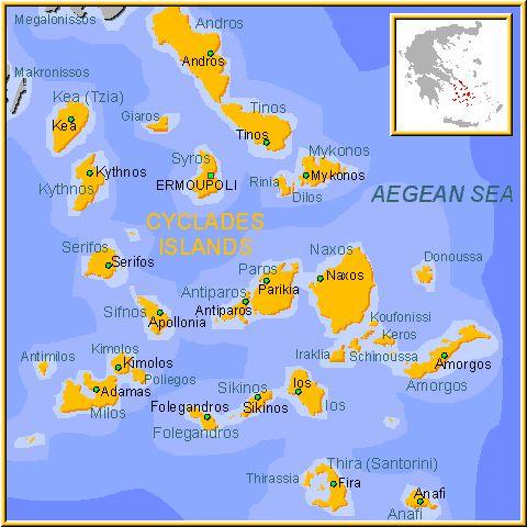 * Islas Cicladas Las islas griegas Cicladas son las siguientes: Kea, Kithnos, Serifos, Sifnos, Milos, Kimolos, Siros, Paros, Antiparos, Naxos, Andros, Tinos, Mykonos, Delos, Ios, Folegandros, Sikinos, Anafi, Amorgos, las pequeñas Cicladas y Santorini.