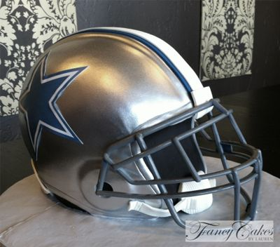 Dallas Cowboys Football Helmet Grooms Cake - the use of the stenciled logo and steel face mask make the cake look more realistic.  #footballwedding