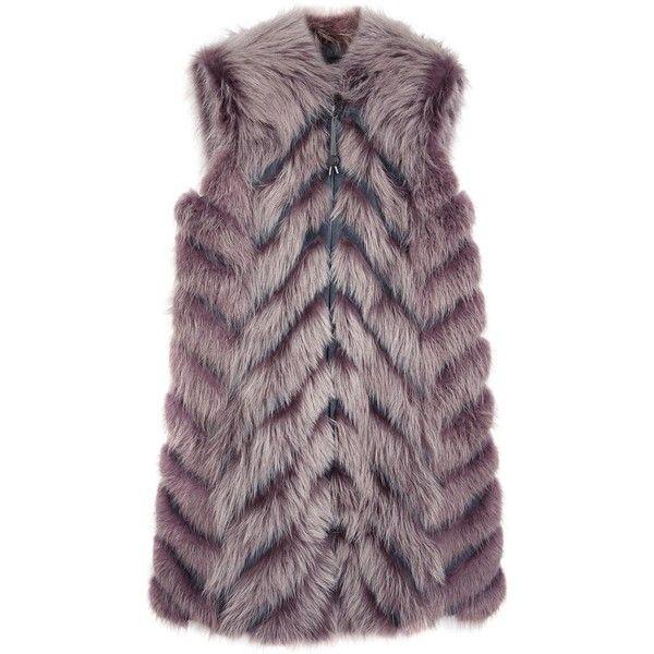 Womens Shearling & Fur Jackets HOCKLEY Thyra Purple Fur Gilet featuring polyvore, fashion, clothing, outerwear, vests, zipper vest, long vest, fur gilet, zip vest and long fur vest