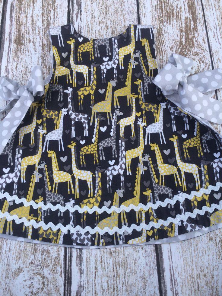 Baby Girl Dress - Baby Girl Giraffe Dress - Baby Romper Giraffe Dress - Baby Girl Holiday Dress - Baby Girl Birthday Dress - Giraffe Dress by SimplyTotsBoutique on Etsy