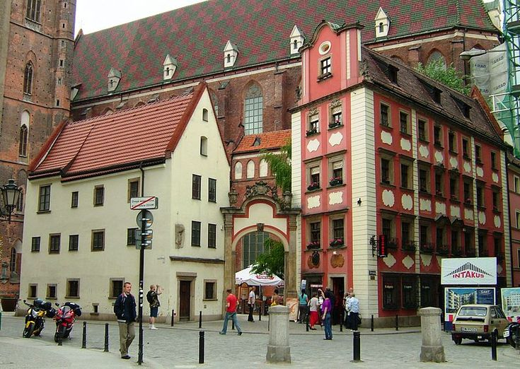 Jaś i Małgosia (Hansel & Gretel Houses), two small beautiful houses @ the corner of Town Hall Square in Wrocław, Poland