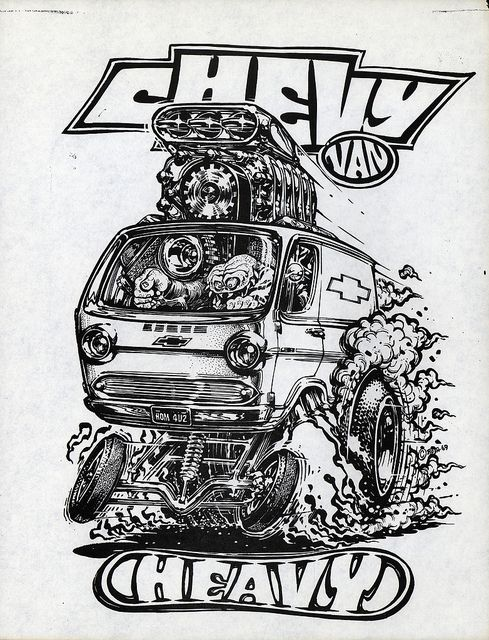 "chevyvan.jpg on Flickr.  Chevy Van Ed ""Big Daddy"" Roth paper print. Art by Ed ""Newt"" Newton."