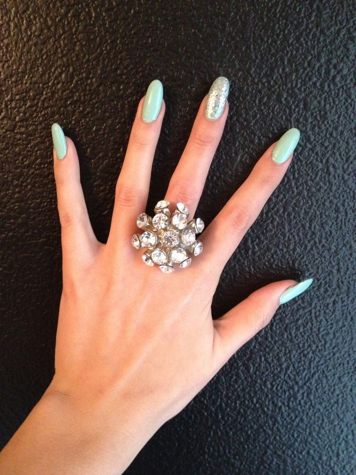 Tiffany Blue With Silver Glitter Accent Nail Long Almond Shaped Nails Blingy Cocktail Ring