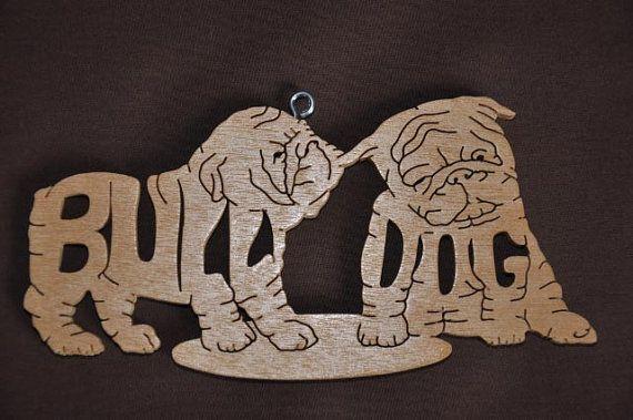 Cachorros de Bulldog Inglés perro ornamento Figura madera
