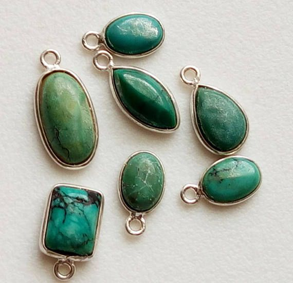 7 Pcs Tibetan Turquoise Bezel Mix Shape Connectors Findings