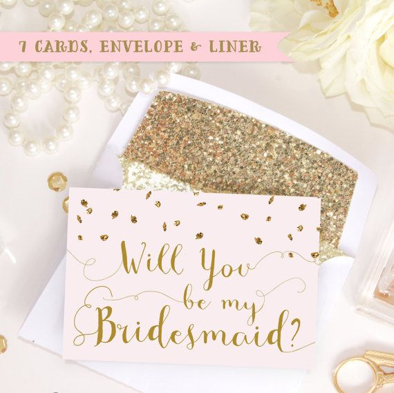Blush Pink & Gold Glitter, Will you be my Bridesmaid, Maid of Honor, Matron of Honor, Flower Girl, Personal Attendant Bridal Proposal Card invitation instant download with printable glitter liners & envelopes!