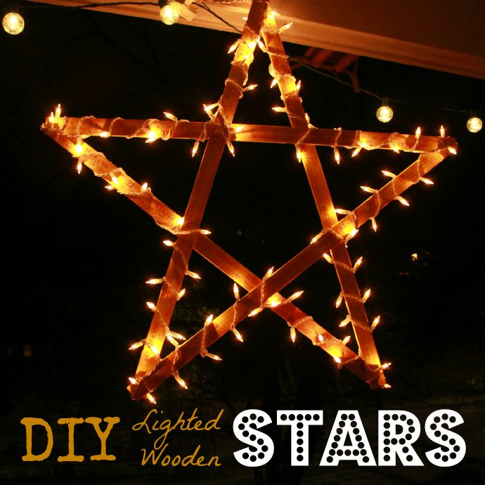 DIY Lighted Wooden Stars from 69 Cent Yardsticks....we did this! We bought 3 - 8' long sticks from Lowes ($1.09) had them cut in half, and bought screws to connect them. With the lights we already have, it was only $6.01 for everything. The kids love it! :)