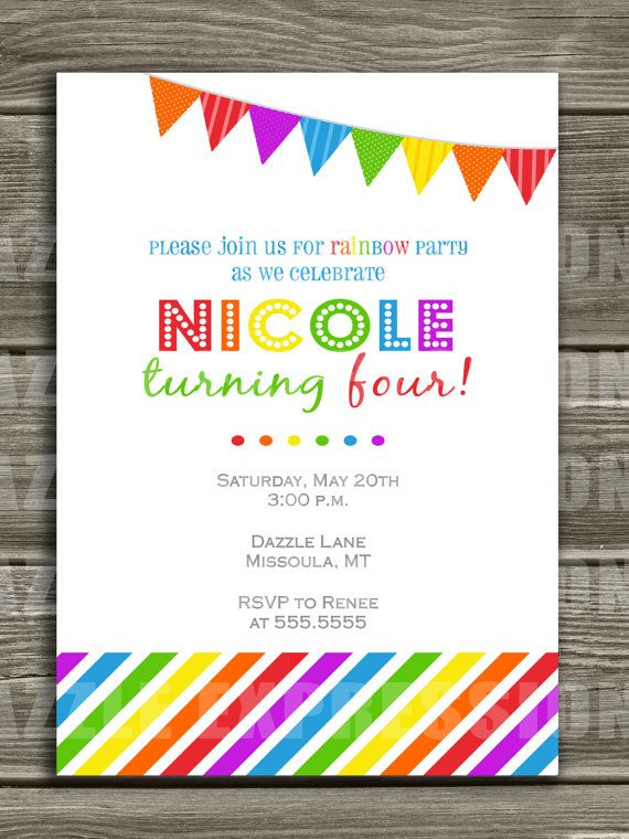 Rainbow Birthday Invitation  FREE thank you by DazzleExpressions, $15.00