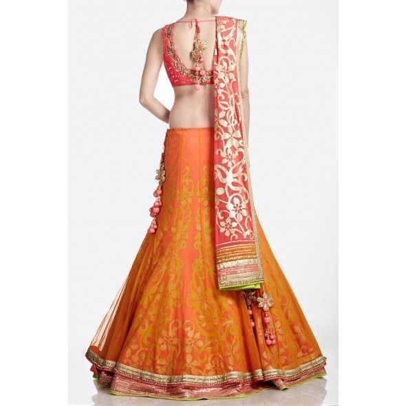 Gorgeous Orange  Pink layered Net Bridal #Lehenga by http://www.SatyaPaul.com/bridal/lehengas.html