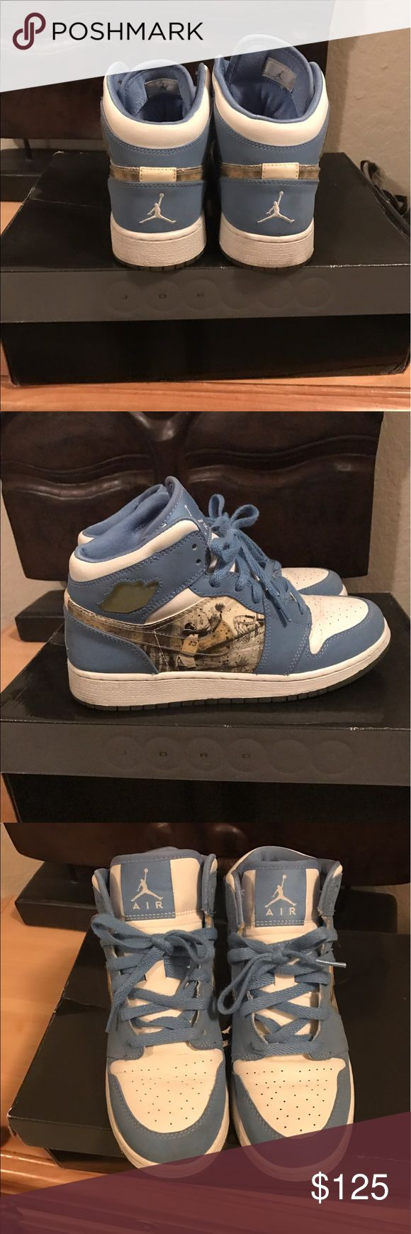 Jordan's blue and white high tops Authentic Jordan's number 1 have some writing in the sole but no wear or tear. Jordan Shoes Sneakers