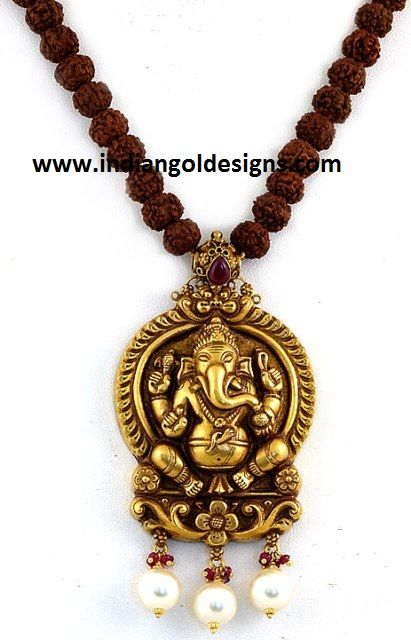 Gold and Diamond jewellery designs: Gorgeous ganesha,radha krishna and lakshmi devi temple jewellery pendants from shahji jewelers