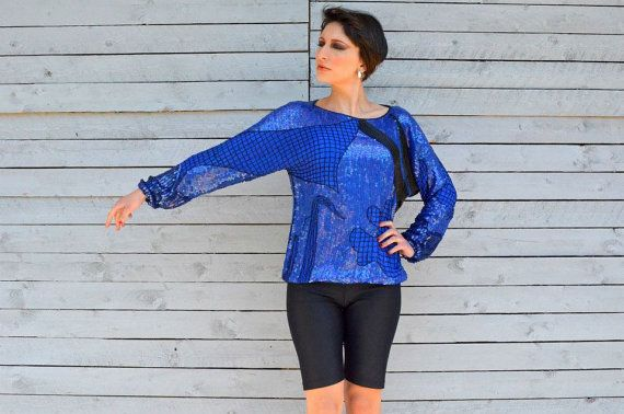 Vintage electric blue silk blouse with sequins and by RoaringRetro, $50.00