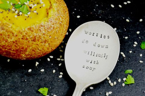 Pretty Little Silver - 'Worries Go Down Willingly With Soup' Personalised Hand Stamped Spoon £12 www.prettylittlesilver.co.uk