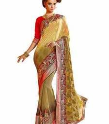 Buy yellow embroidered Jacquard saree with blouse wedding-saree online