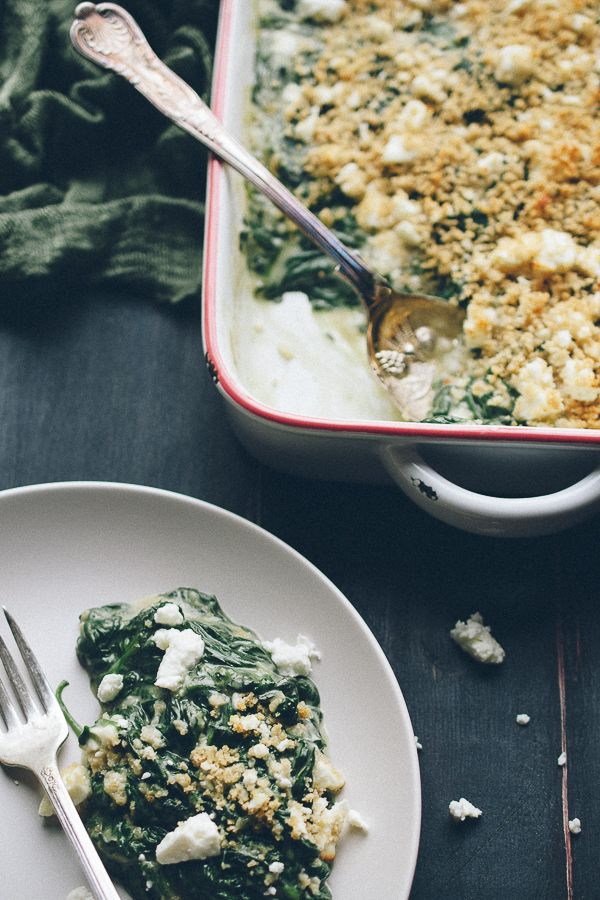 This Baked Creamed Spinach with Feta is AMAZING! So easy, creamy with ...
