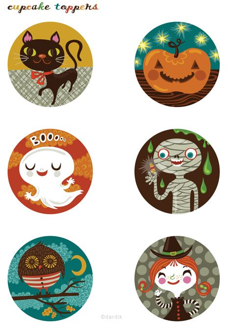These are the cutest Halloween Toppers I've ever seen! (from Lilla Rogers Studio)