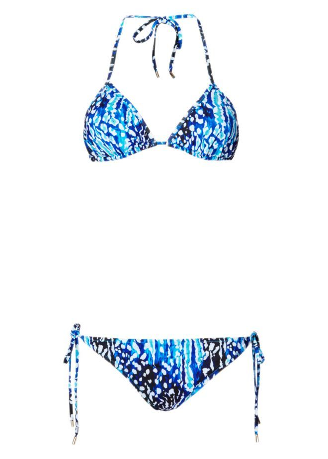 The Akita Animal print taps into Matthew's love of both nature and exotic, nomadic travels - Akita is a mountainous area in Japan, known for its hot springs. This bikini has triangle cups, string-tie straps and low-rise briefs that can be adjusted for the perfect fit. The oceanic shades flatter every skin tone.