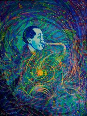 "Saatchi Art Artist Lola Lonli; Painting, ""Lester Young is breathing"" #art"