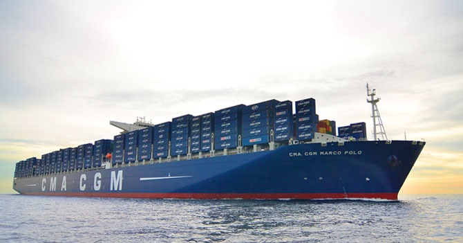 CMA CGM Marco Polo is a container ship in the Explorer class owned by the CMA CGM group. On 6 November 2012, it became the largest containership in the world measured by capacity, as it can hold 16,020 TEU (twenty-foot equivalent unit containers).