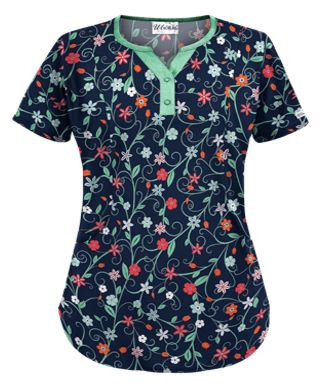 UA Flower Patch Navy Print Scrub Top Style # UA798FNY  #uniformadvantage #uascrubs #adayinscrubs #scrubs #printscrubs #scrubtop #flowers #floralscrubs