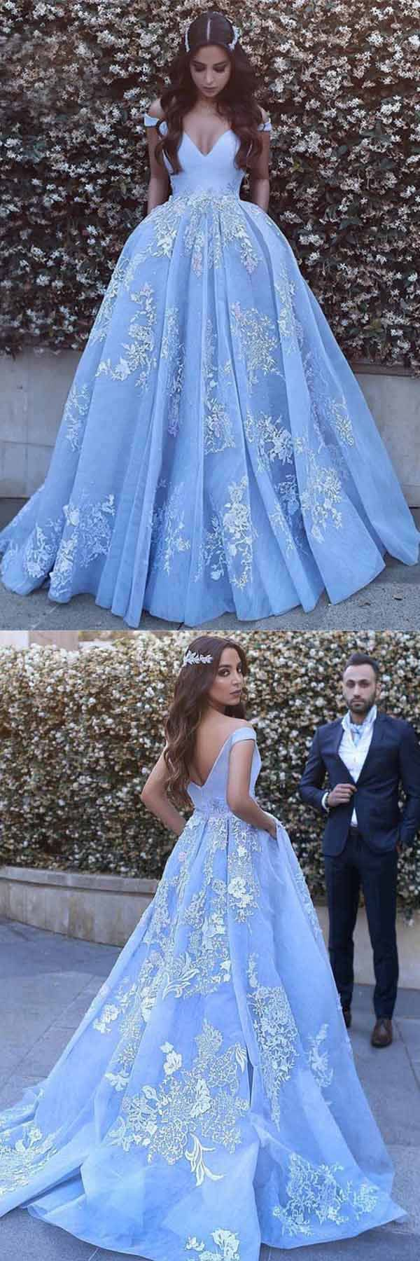 Ball Gown Off-the-Shoulder Sweep Train Blue Tulle Prom Dress PG464 #promdress #partydress #ballgown #eveningdress