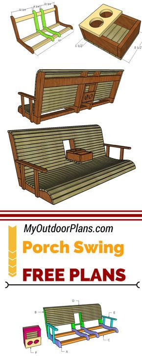 Learn how to build a porch swing with center console using my free plans and instructions! #diy #myoutdoorplans