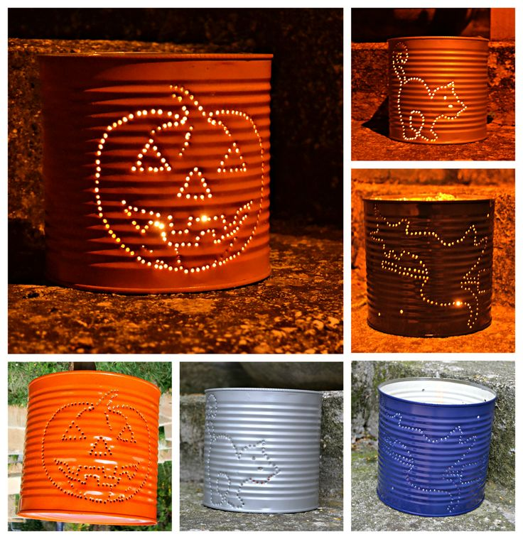 Lanterne di Halloween con barattoli di latta.  Halloween lanterns, made with tins