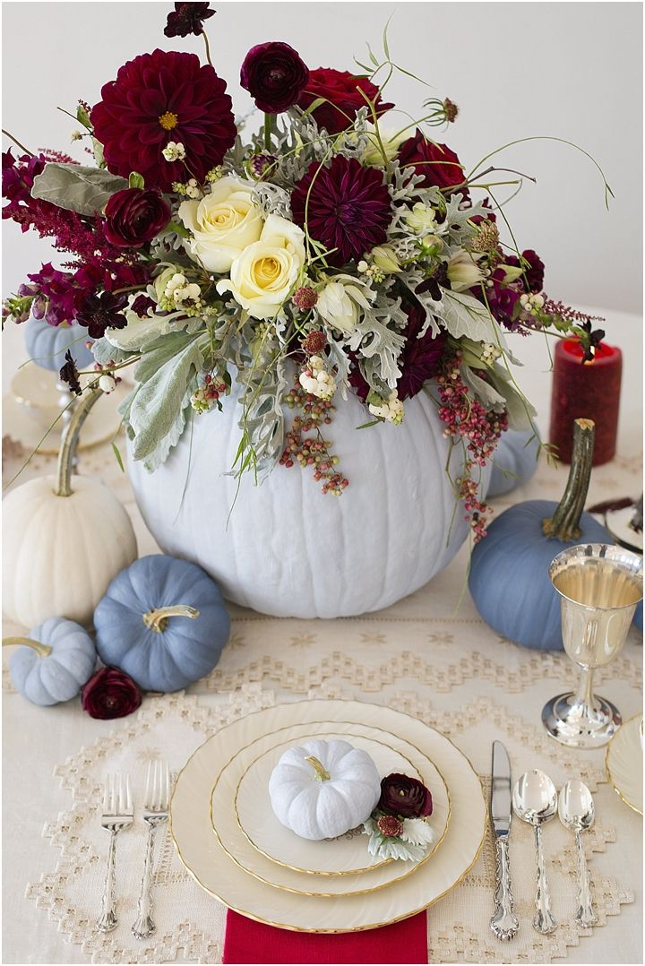 Dusty Blue and Cranberry Fall Tablescape. This is a great idea for a fall or thanksgiving tablescape! photo by Lisa Price Photography   Design by LB Floral and Haley at The Bride Link   Flowers by LB Floral